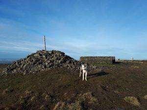 Fair Snape Fell cairn, shelter and trig