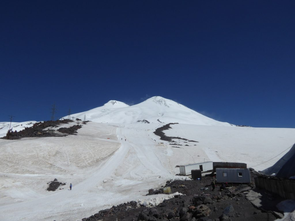 Elbrus - Volcanic Seven Summit in Russia.  Cost relatively low.