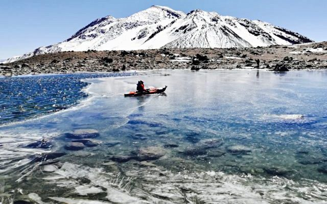 High altitude kayaking in the Andes