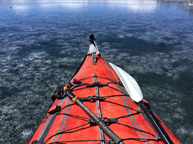 Dan kayaking on Ojos del Salado