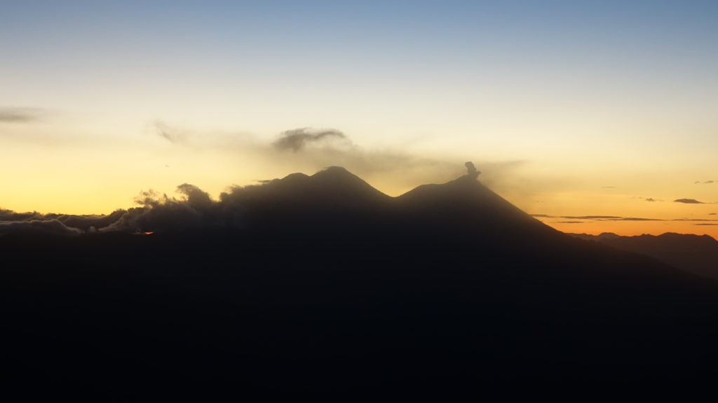 Sunrise on Toliman looking at Volcán Acatenango and Volcán de Fuego