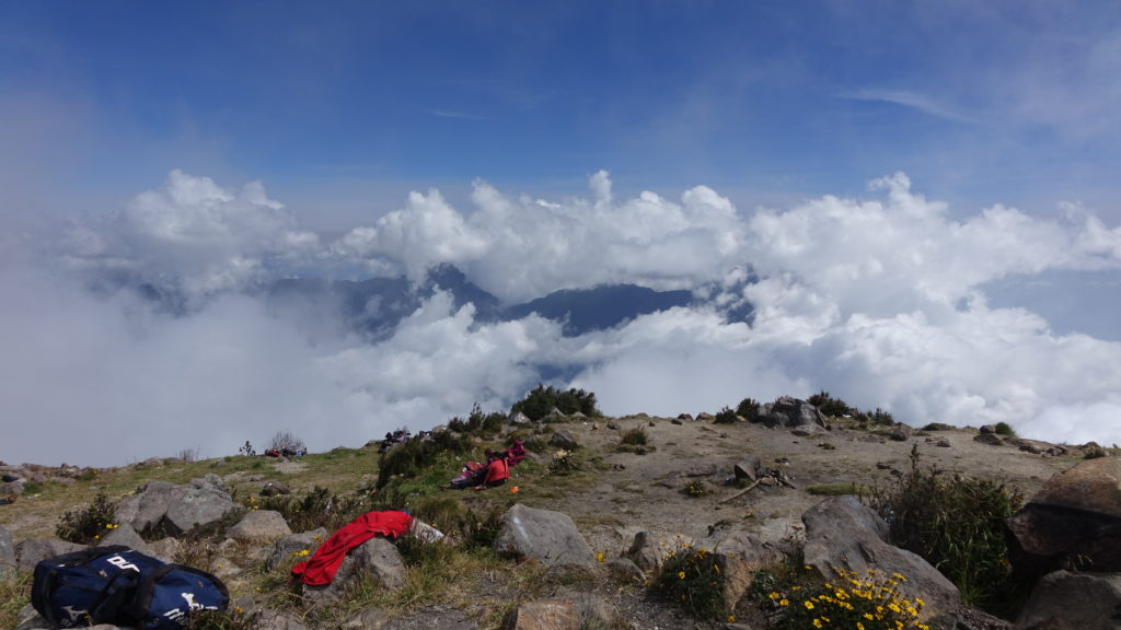 Limited views from the summit of Volcán Santa Maria