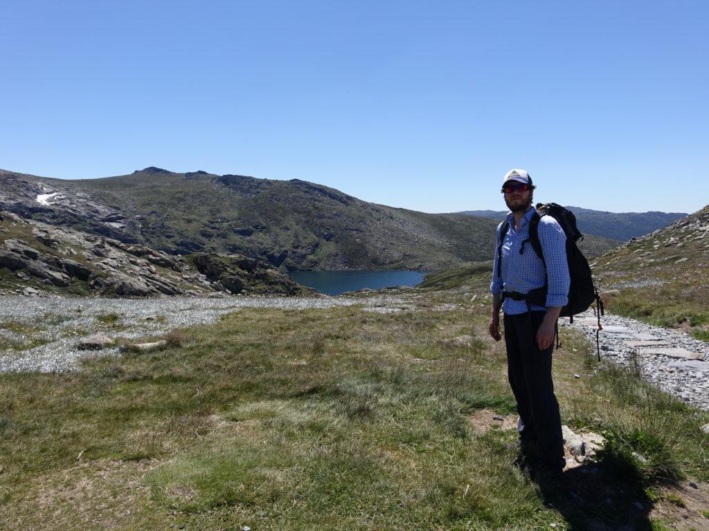 Dan with Blue Lake behind