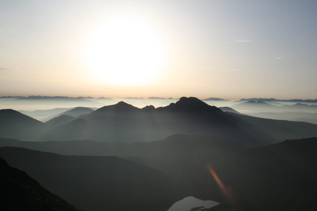 Looking over Blaven from Sgurr nan Eag in the Skye Cuillin at sunrise
