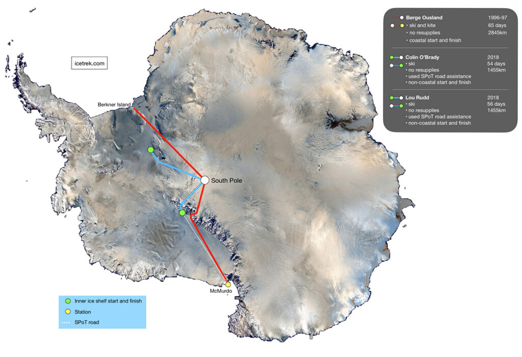 Comparing routes across Antarctica for polar record purposes