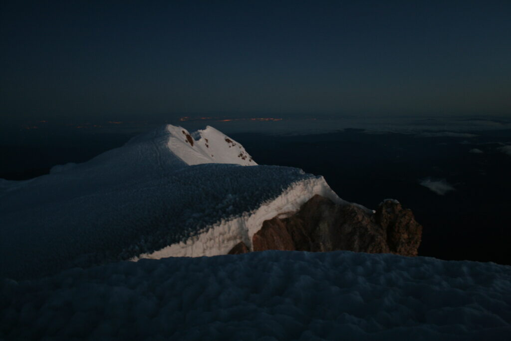 Mount Hood summit ridge at dawn