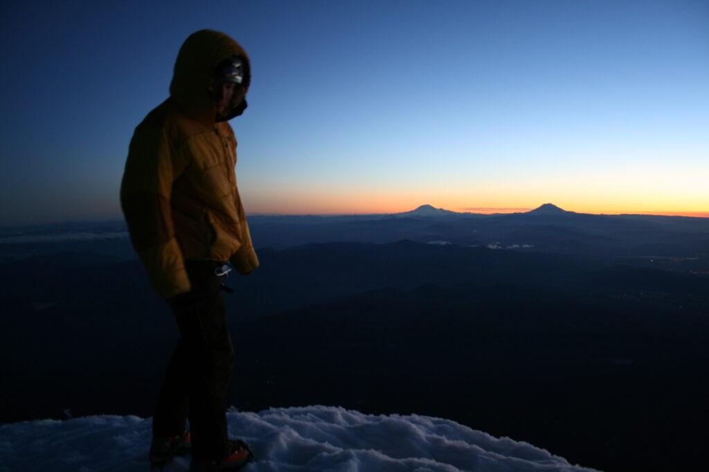Mounts Rainier and Adams from the summit of Mount Hood