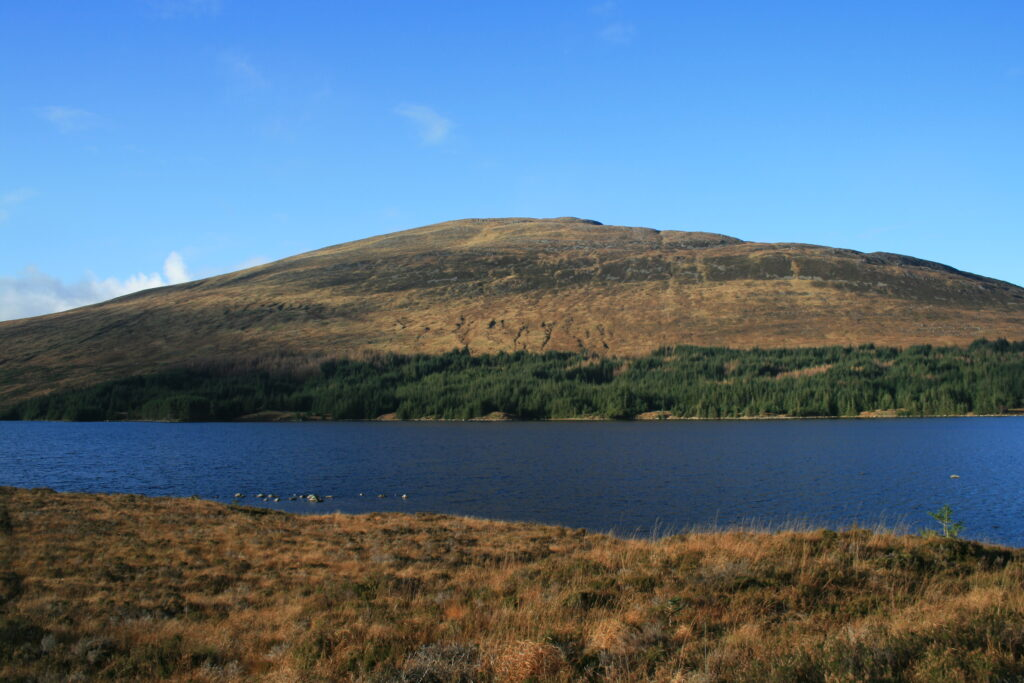 Beinn na Lap from the south with Loch Ossian in the foreground