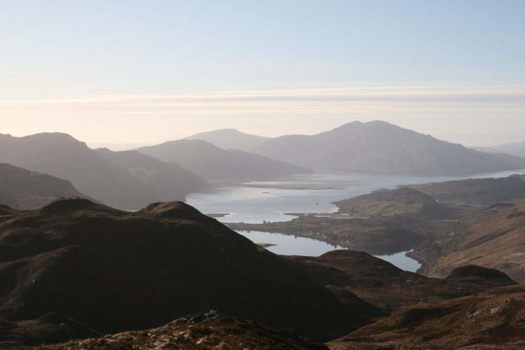 Lochs Long and Duich and Skye from summit of Beinn Mheadhoin