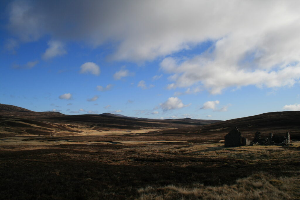 Remote Geldie Lodge en route to An Sgarsoch and Carn Ealar