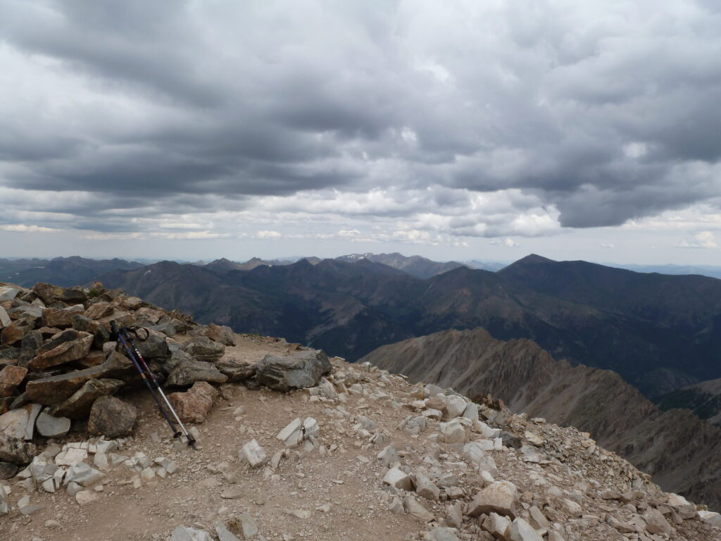 View north to Mount Elbert and a more distant Mount Massive from La Plata summit