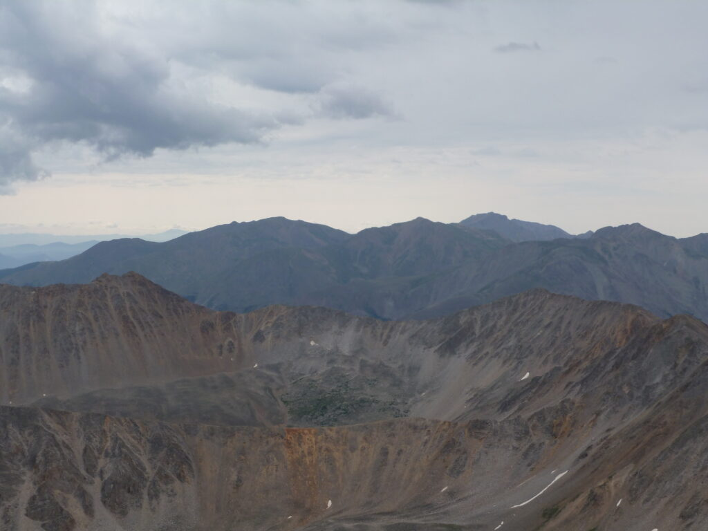 View south to Mount Harvard standing above Mounts Oxford and Belford and Missouri Mountain from La Plata summit
