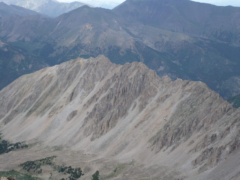 View down to the Ellingwood Ridge