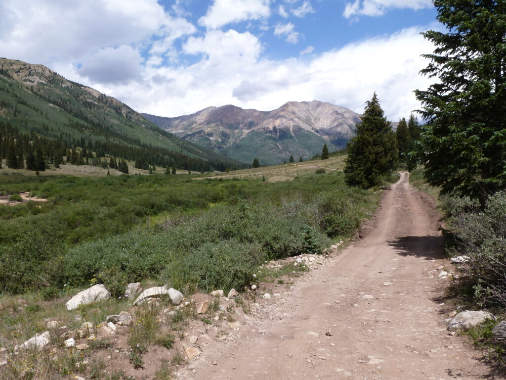Looking down the 4WD road to La Plata Peak