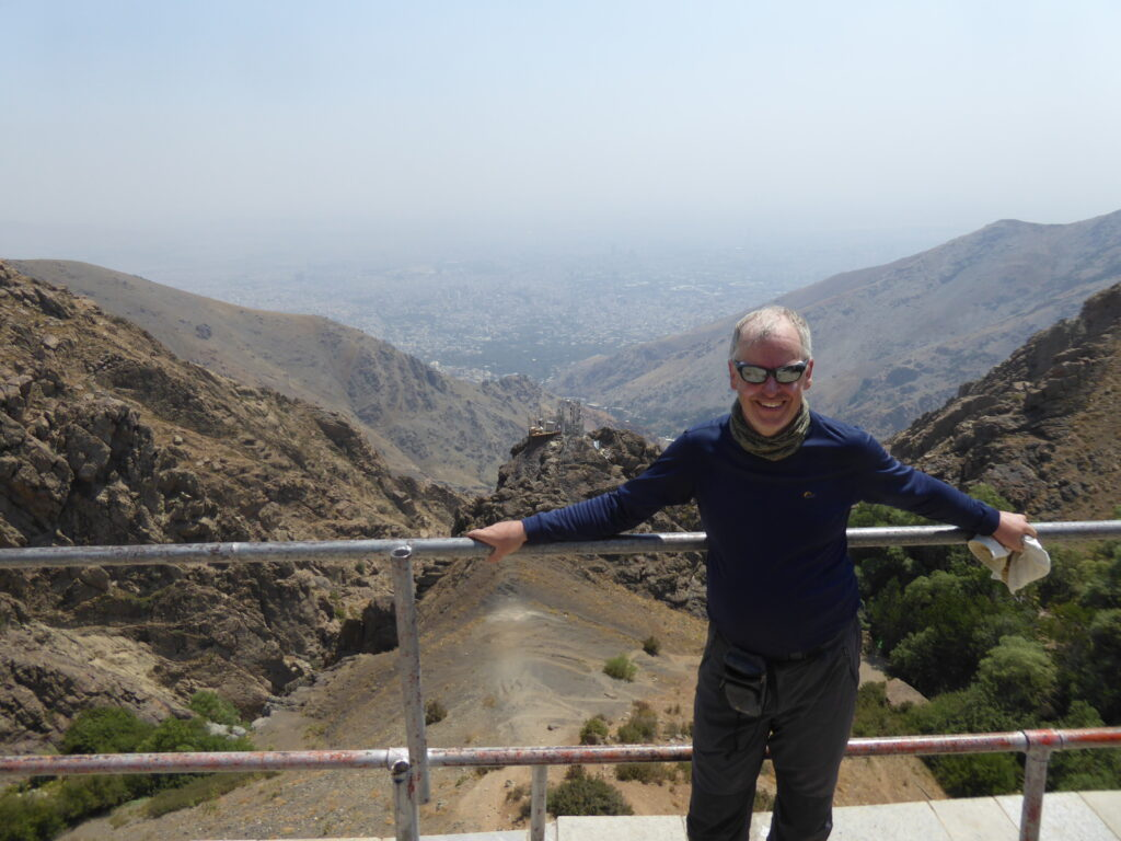 The writer on the terrace at the Shirpala shelter, Mount Tochal