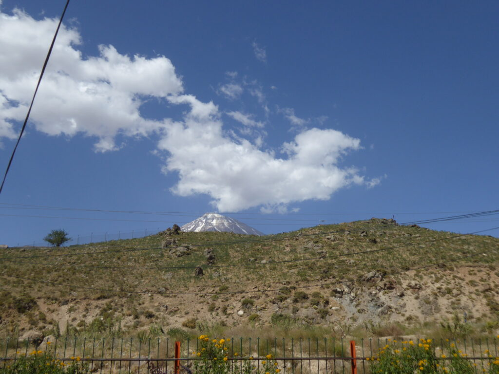 A glimpse of Damavand - one of the volcanic seven summits - from Polour Camp