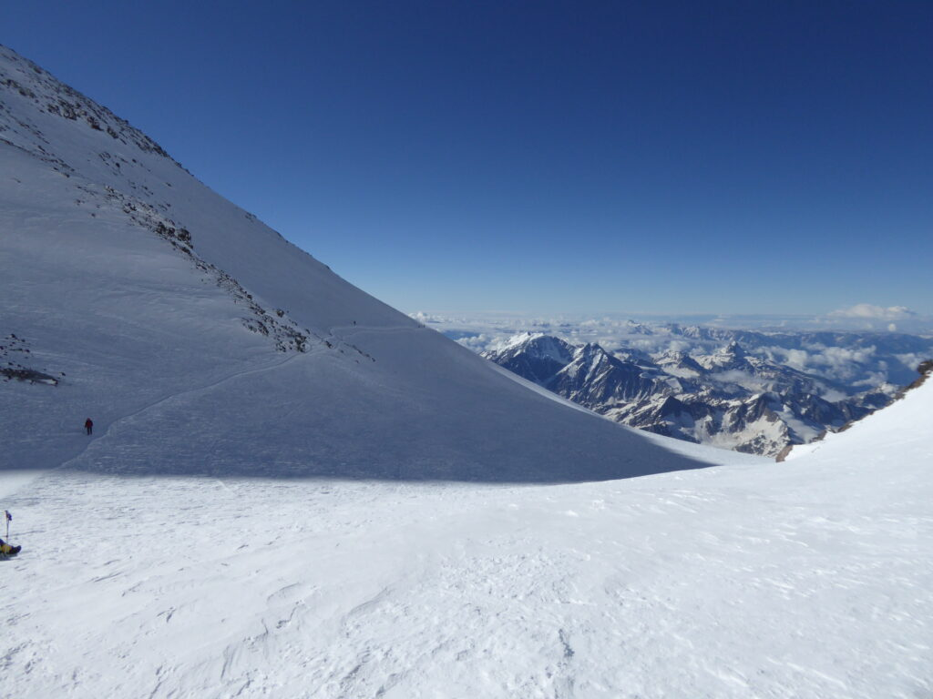At the Saddle between the twin summits of Mount Elbrus