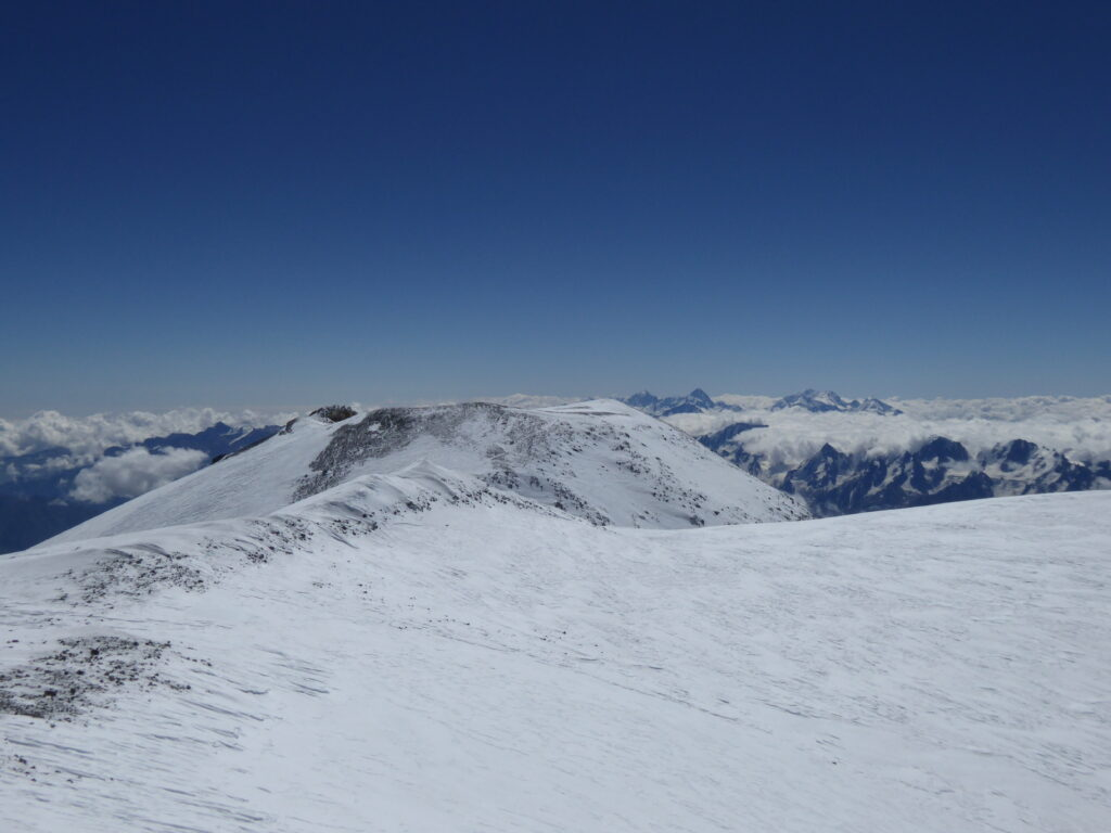 Across the plateau to the east summit of Mount Elbrus