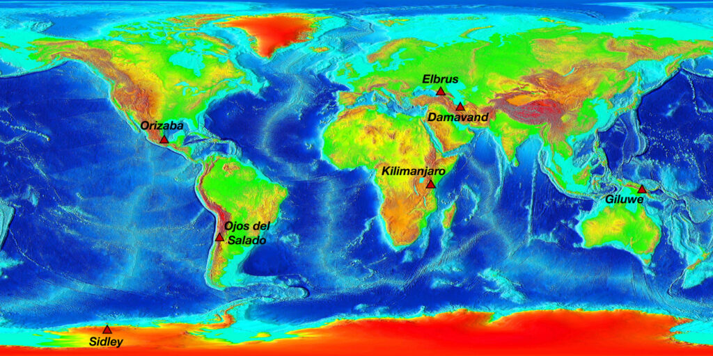 World map showing the volcanic seven summits